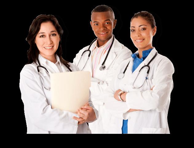 three doctors smiling